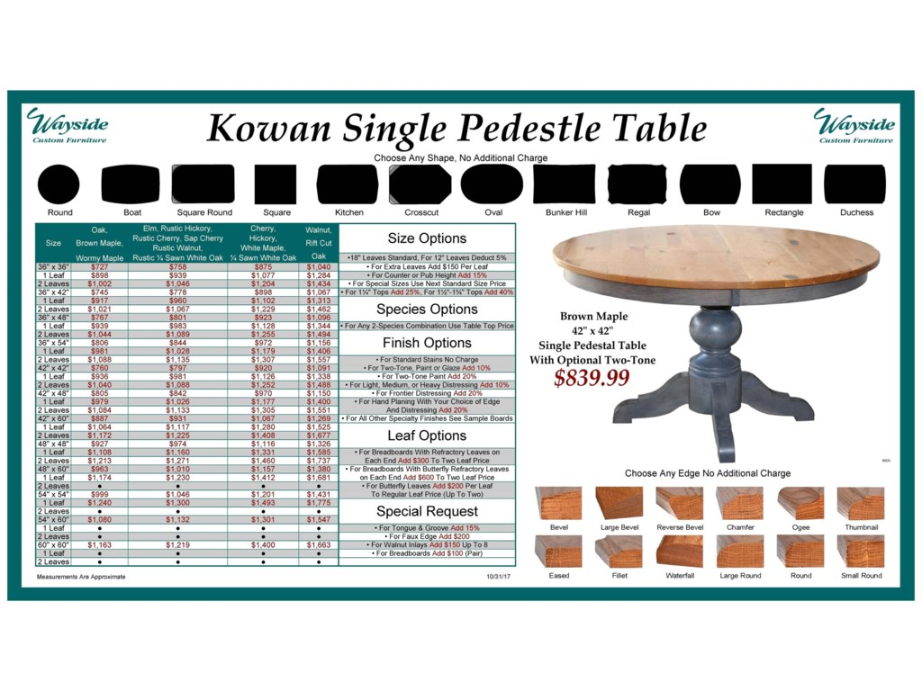 Wayside Custom Furniture Kountry KnobKowan Single Pedestal Table
