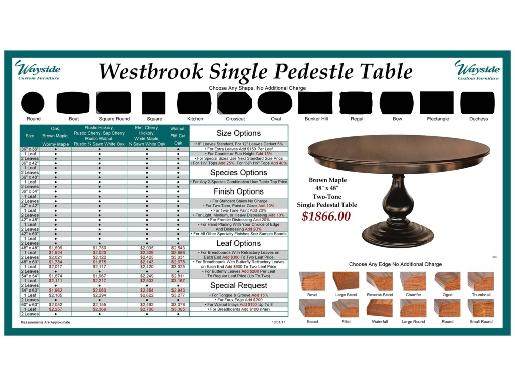 Wayside Custom Furniture Kountry KnobWestbrook Single Pedestal Table