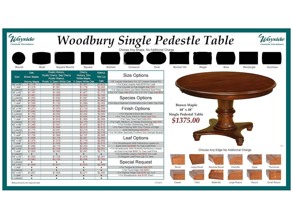 Wayside Custom Furniture Kountry KnobWoodbury Single Pedestal Table