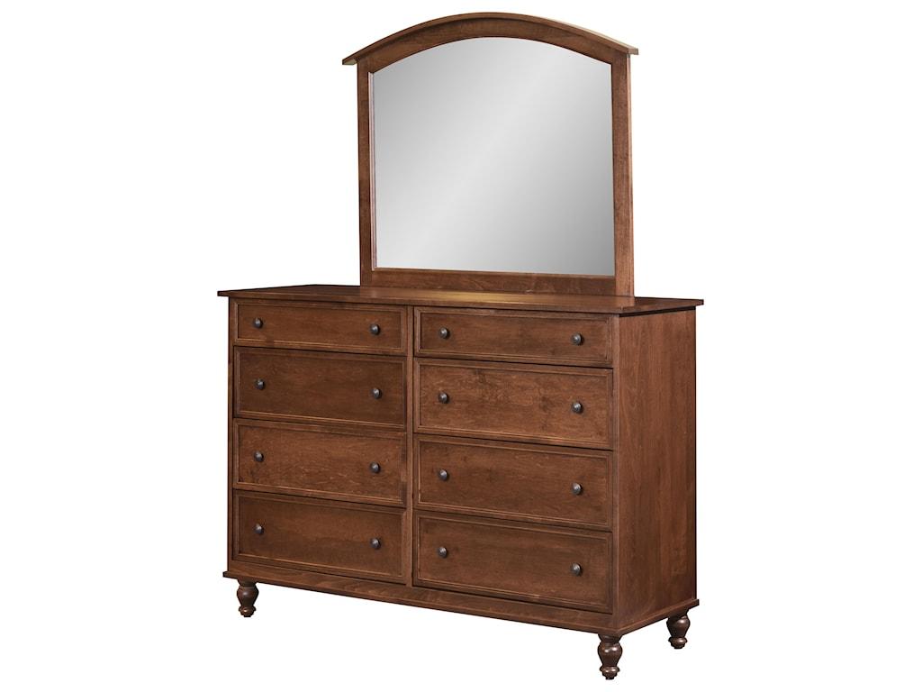 Wayside Custom Furniture Newport8 Drawer Mule Dresser & Mirror
