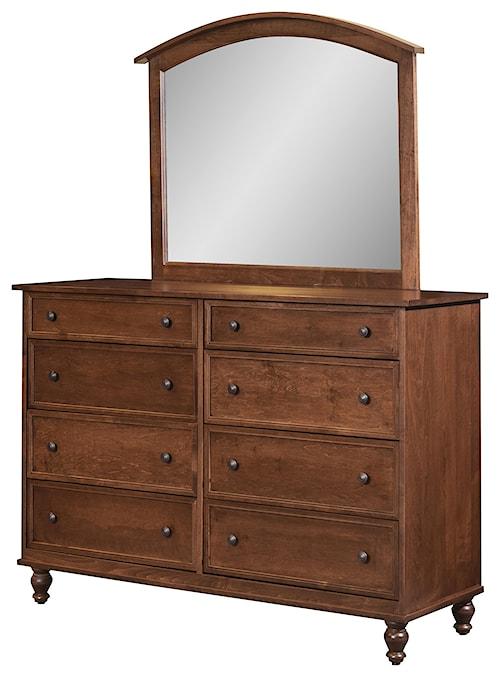Wayside Custom Furniture Newport 8 Drawer Mule Dresser & Mirror