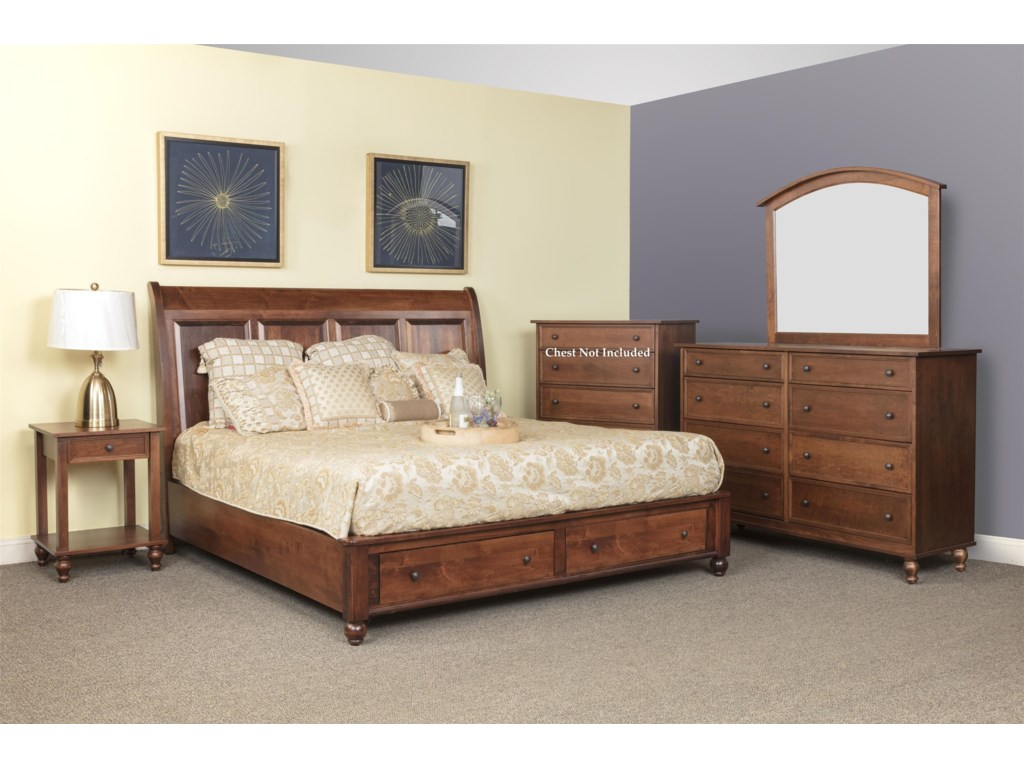 Wayside Custom Furniture Newport4pc King Bedroom Group