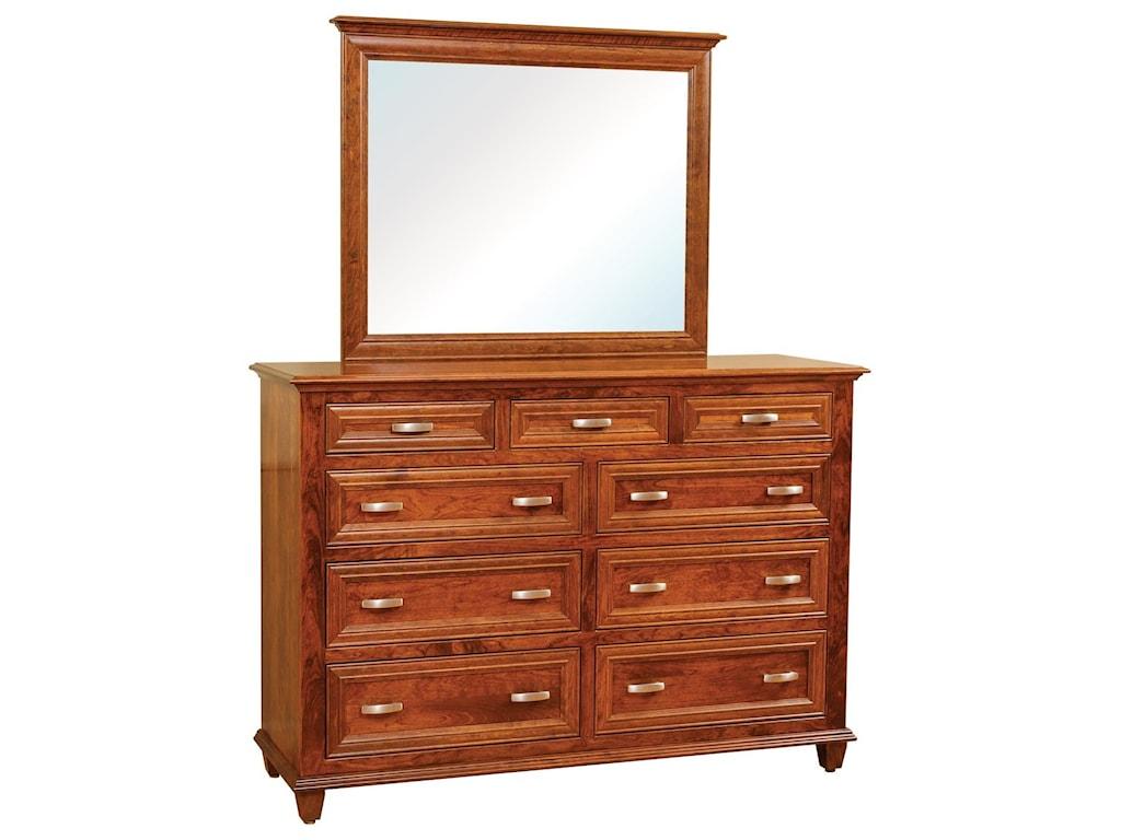 Wayside Custom Furniture Rosedale9 Drawer Dresser & Mirror