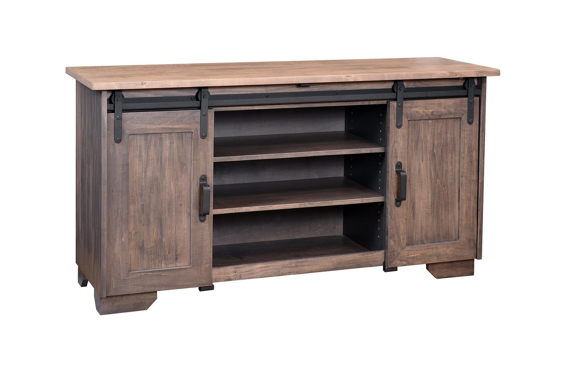 Wayside Custom Furniture RuffSawn Barn Door TV Stand
