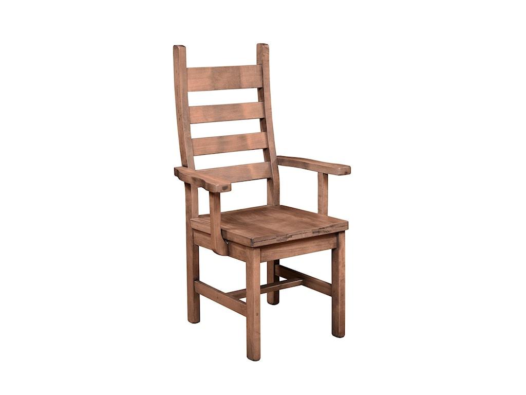 Wayside Custom Furniture RuffSawnRustic Ladder Back Arm Chair