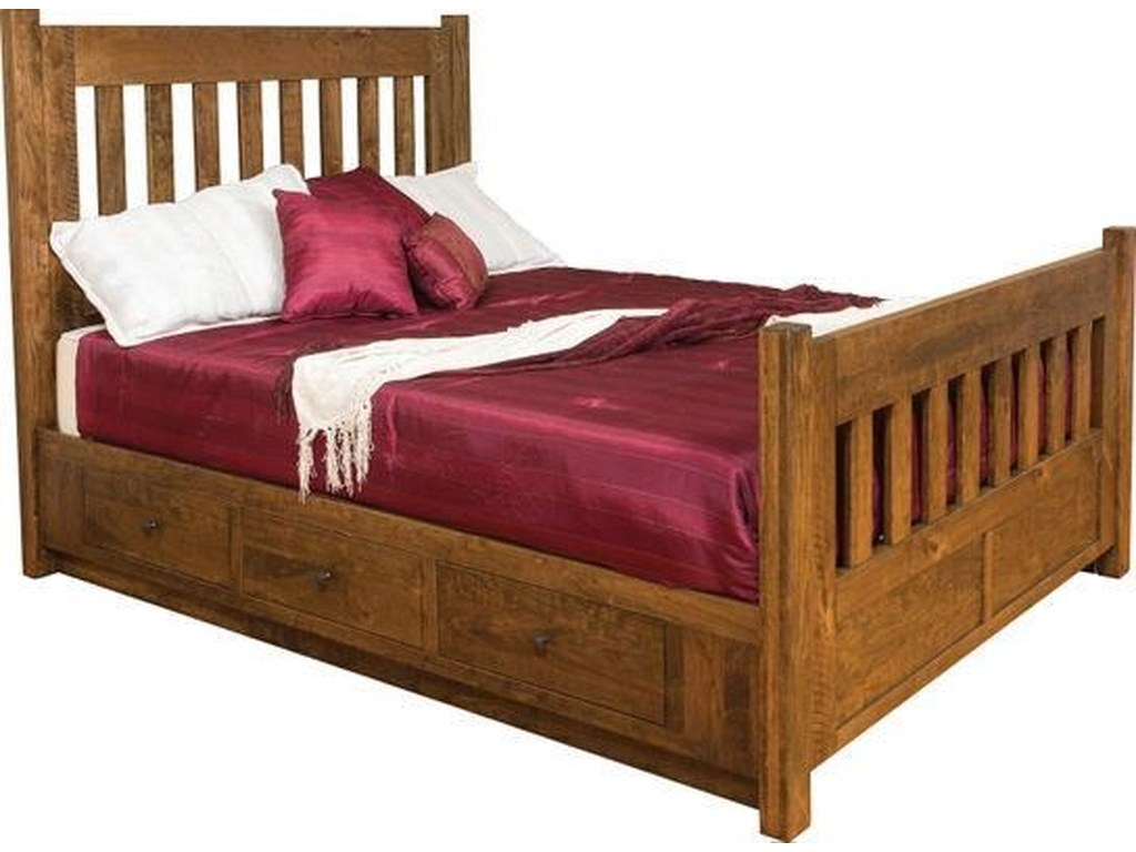 Wayside Custom Furniture Timber MillQueen Bed with Side Storage
