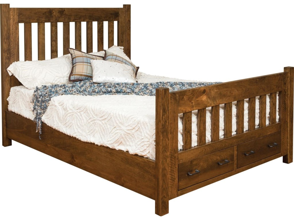 Wayside Custom Furniture Timber MillQueen Bed With Footboard Storage