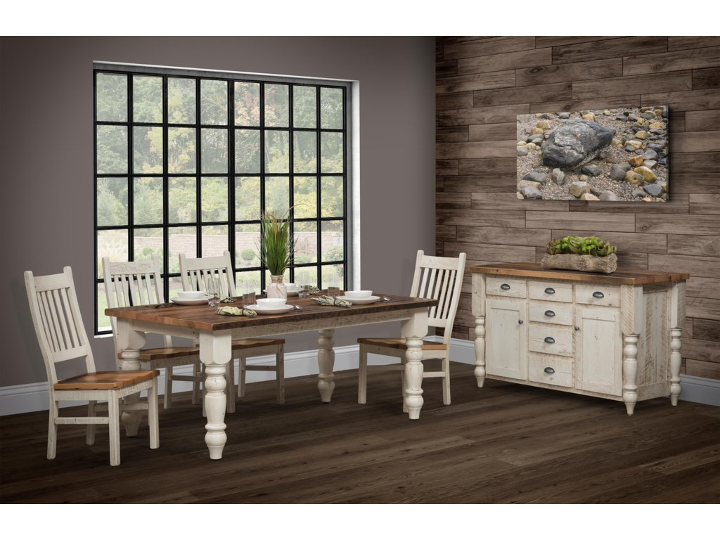 Wayside Custom Furniture Farmhouse6pc Dining Room Group