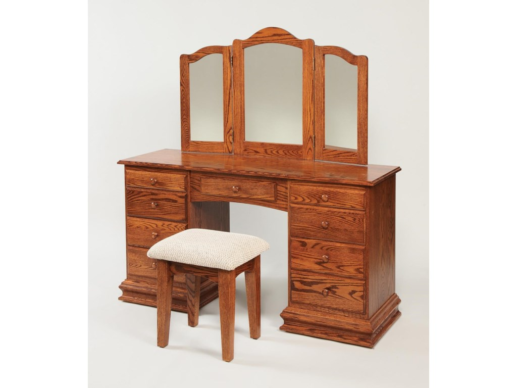 Wayside Custom Furniture Dressing TablesClockbase Vanity & Mirror