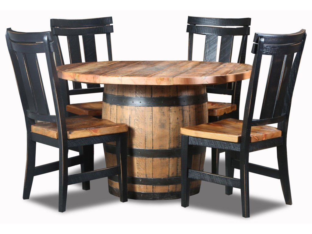Wayside Custom Furniture Whiskey Barrel5pc Whiskey Barrel Dinette