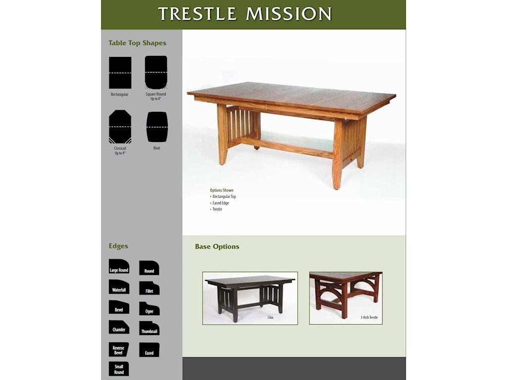 Weaver Woodcraft Custom Amish DiningTrestle Mission Table