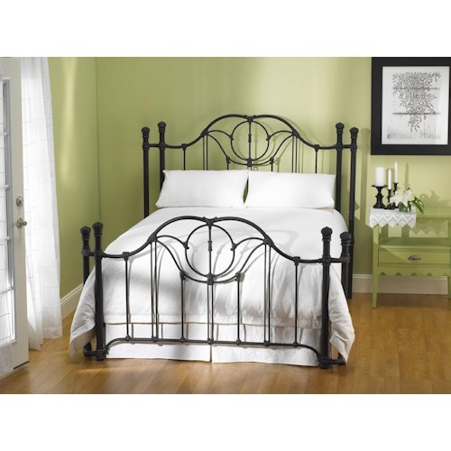 Wesley Allen Iron Beds King Kenwick Headboard and Open Footboard with Return Posts
