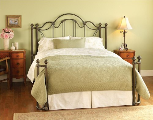 Wesley Allen Iron Beds Queen Marlow Headboard and Open Footboard Bed with Return Posts