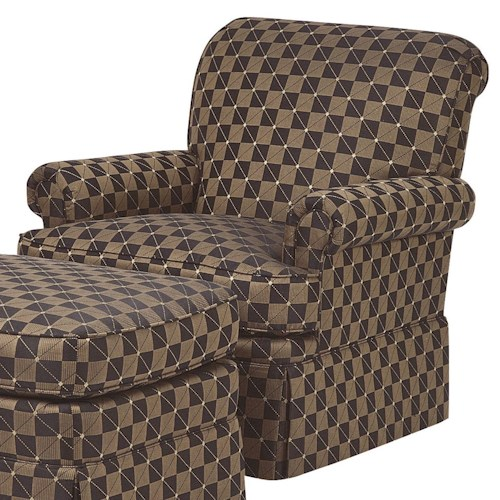 Wesley Hall Accent Chairs and Ottomans Empire Skirt Chair with Rolled Arms