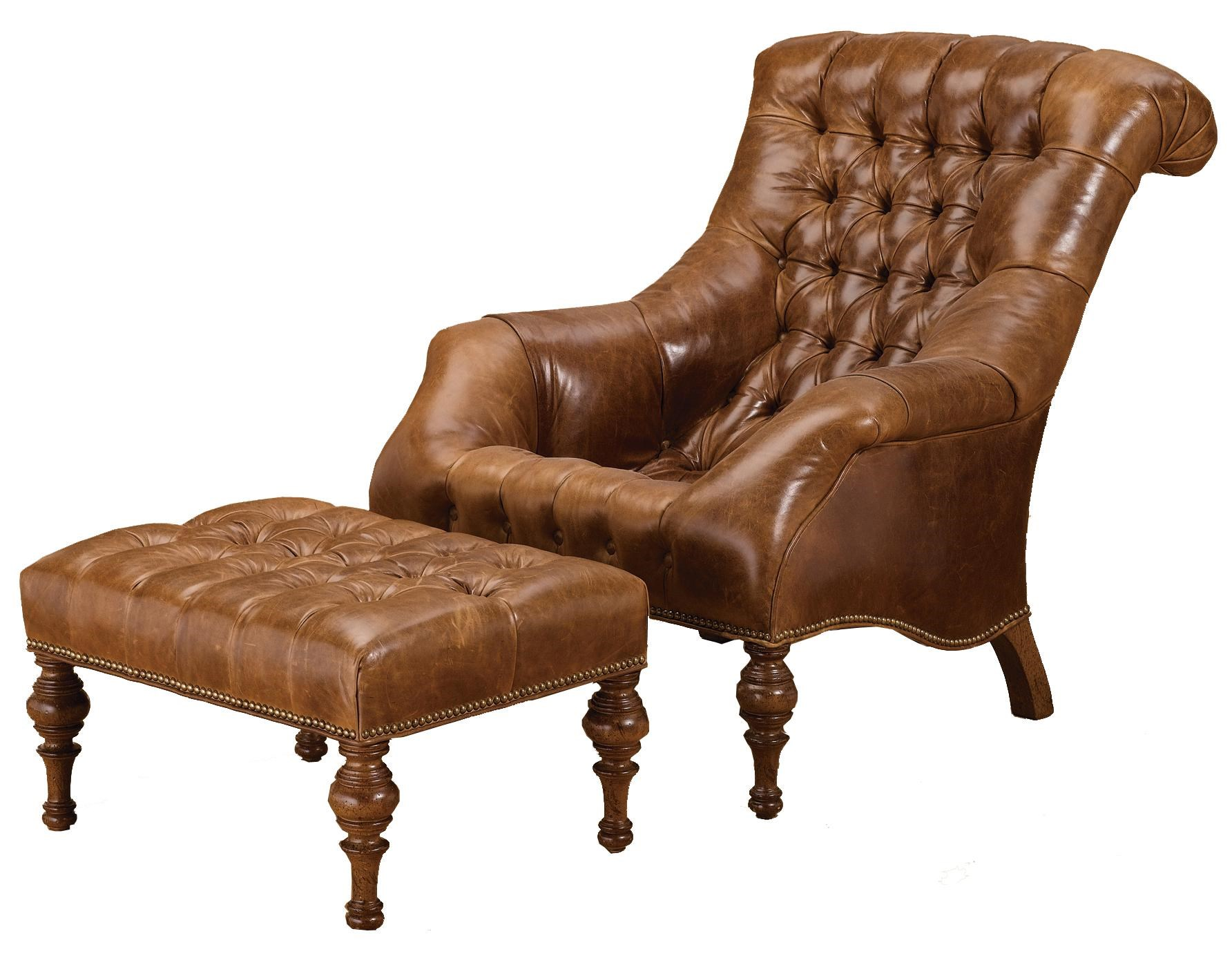Wesley Hall Accent Chairs And Ottomans Traditional Upholstered Chair And  Ottoman With Turned Wood Feet