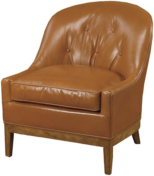 Wesley Hall Accent Chairs and Ottomans Upholstered Barrel Back Chair with Exposed Wood Legs