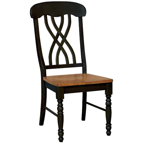 Whitewood Dining Room Pieces Two-Toned Dining Side Chair with Curved Lattice Back