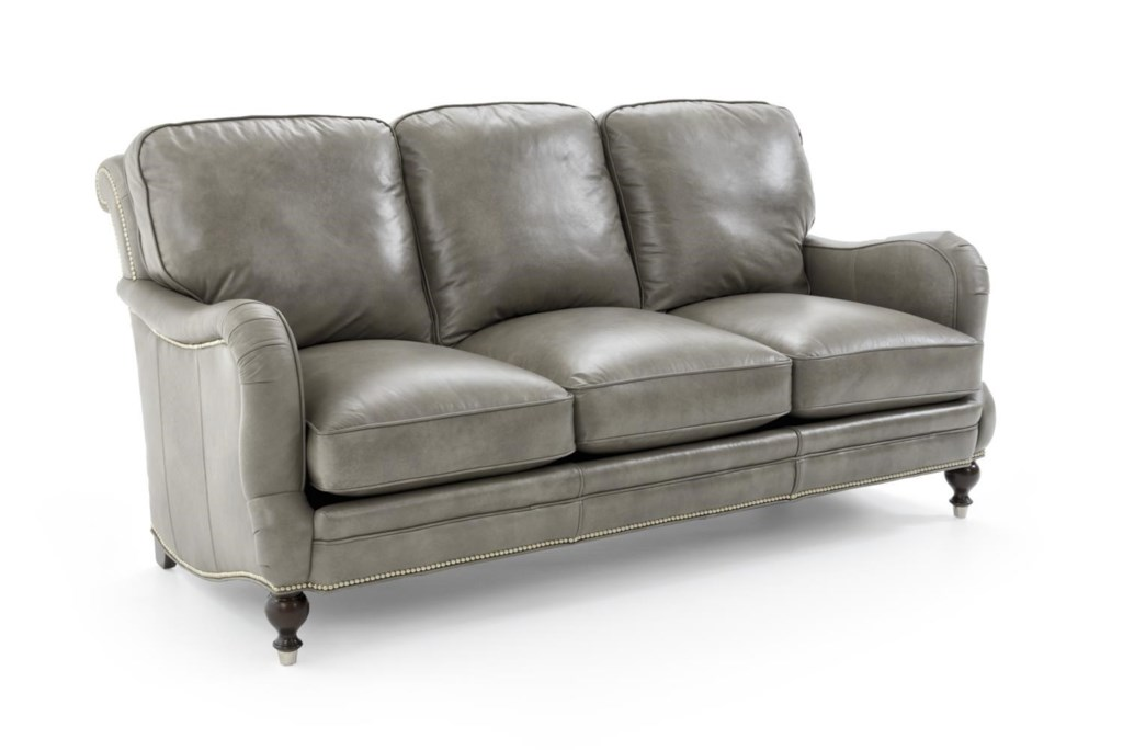 Whittemore Sherrill 239 239 06 Panhandle Dove Traditional Leather  ~ Leather Sofa With Nailheads