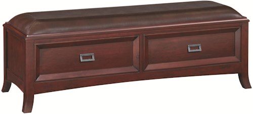 Whittier Wood Cascade  Two-Drawer Accent Bench with Upholstered Seat