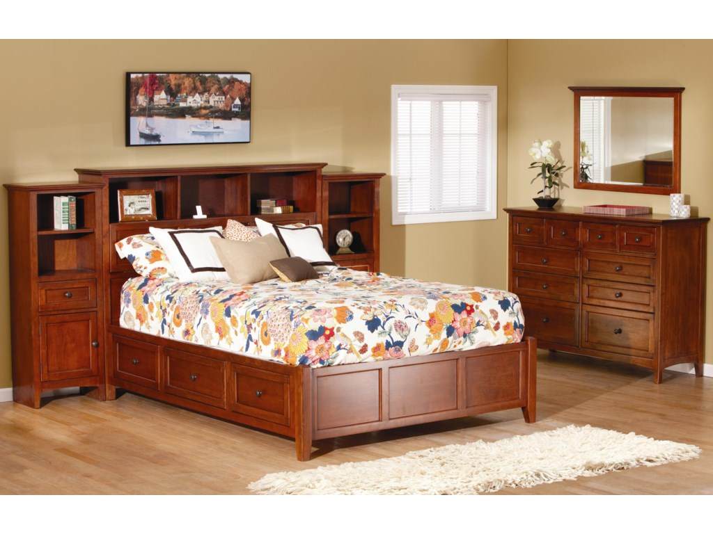 Shown with Queen Bookcase Bed as Pier Bed, and Dresser and Mirror