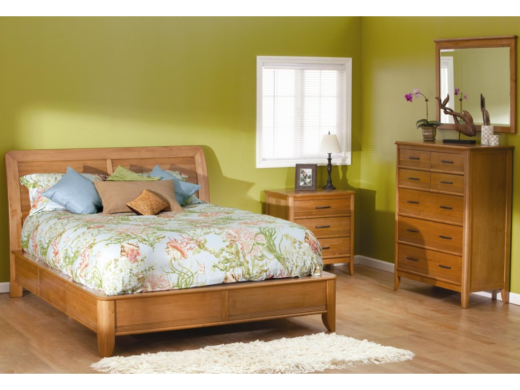 Shown with bed, 3 drawer nightstand, and chest