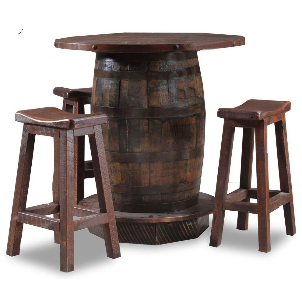 Wayside Custom Furniture Reclaimed Whiskey Barrel 4 Piece Reclaimed Whiskey  Barrel Pub Table And Saddle Seat