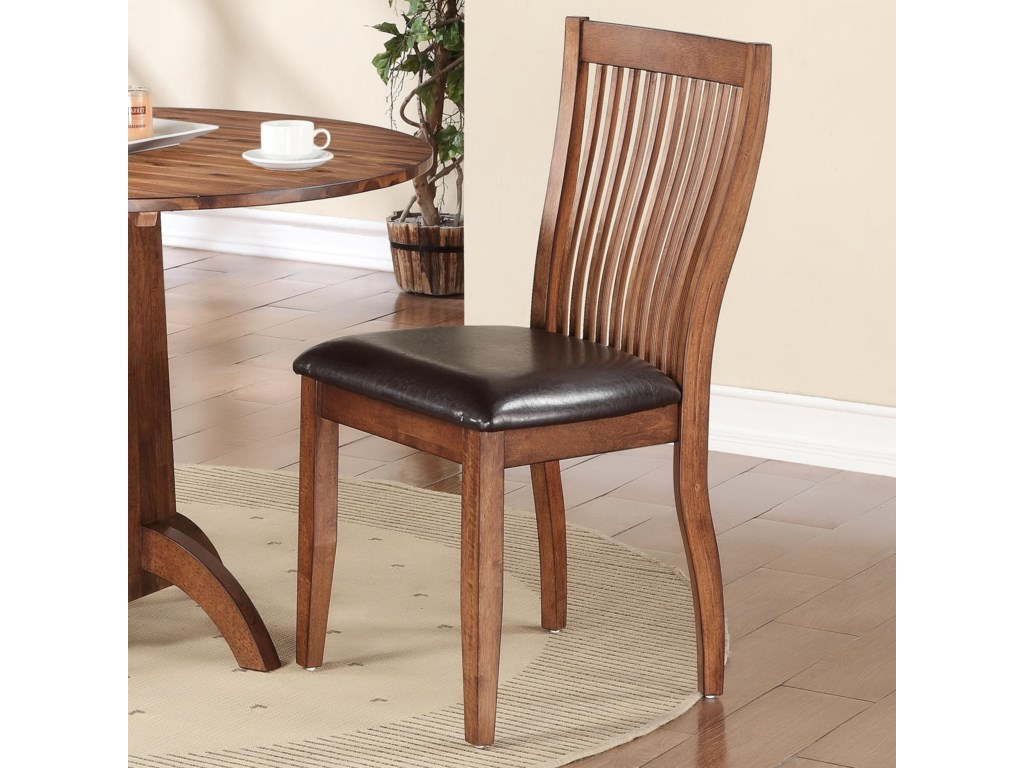 Winners Only Broadway DFB1451S Slat Back Side Chair With Upholstered Seat