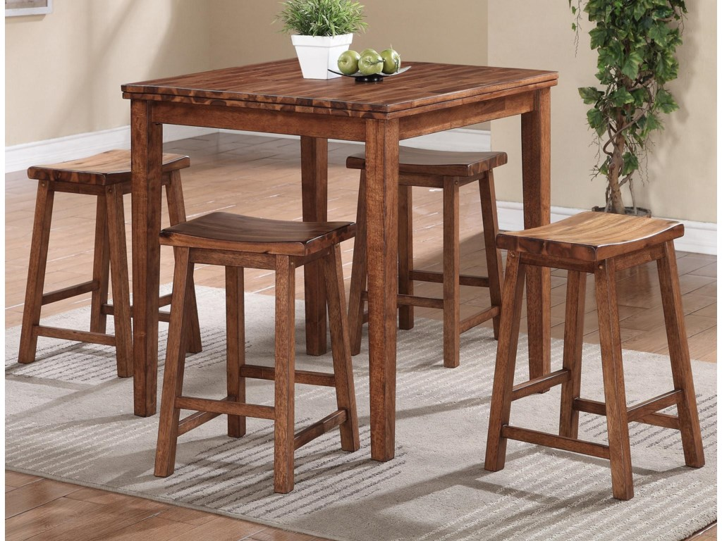 Winners Only Broadway Solid Acacia Wood 5 Pc Tall Table Set