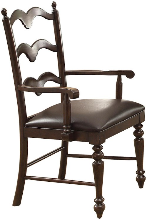 Winners Only Cambridge Country Ladder Back Arm Chair with Turned Front Legs
