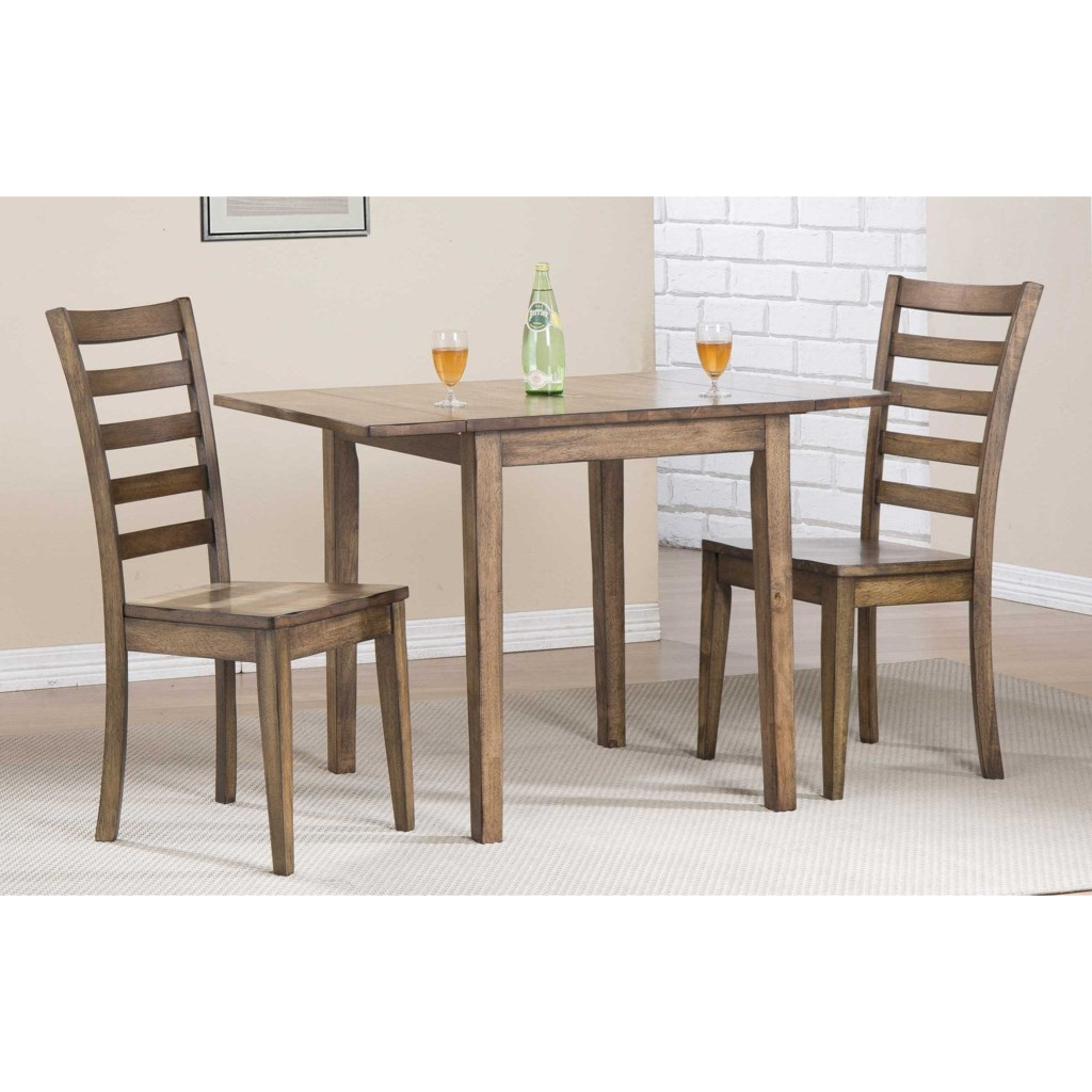 Winners only carmel dining set with ladderback chairs and butterfly leaf dunk bright furniture dining 3 piece sets
