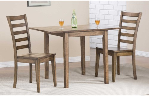 Winners Only Carmel Dining Set with Ladderback Chairs and Butterfly Leaf