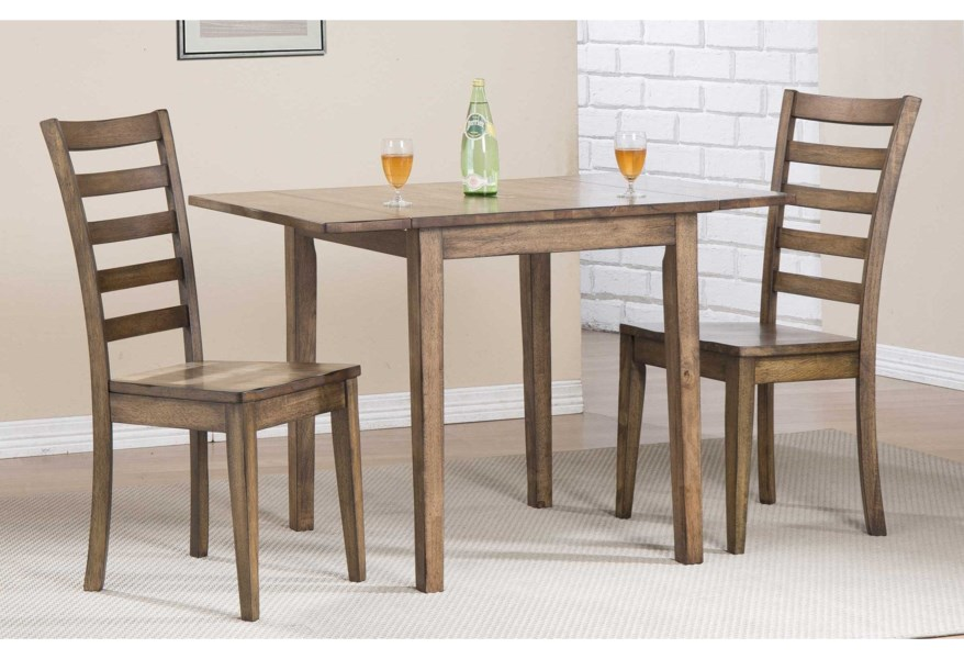 Winners Only Carmel Dc33046r 2xdc350sr Dining Set With Ladderback Chairs And Butterfly Leaf Pilgrim Furniture City Dining 3 Piece Sets