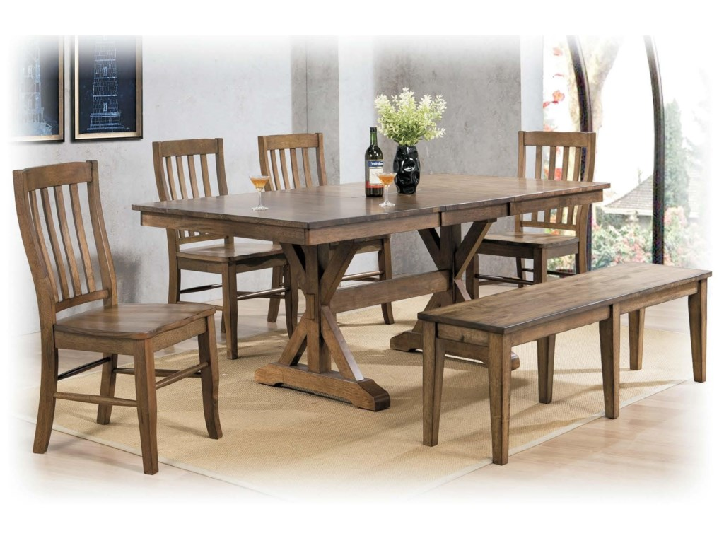 Winners Only CarmelTable & 4 Chairs with Bench