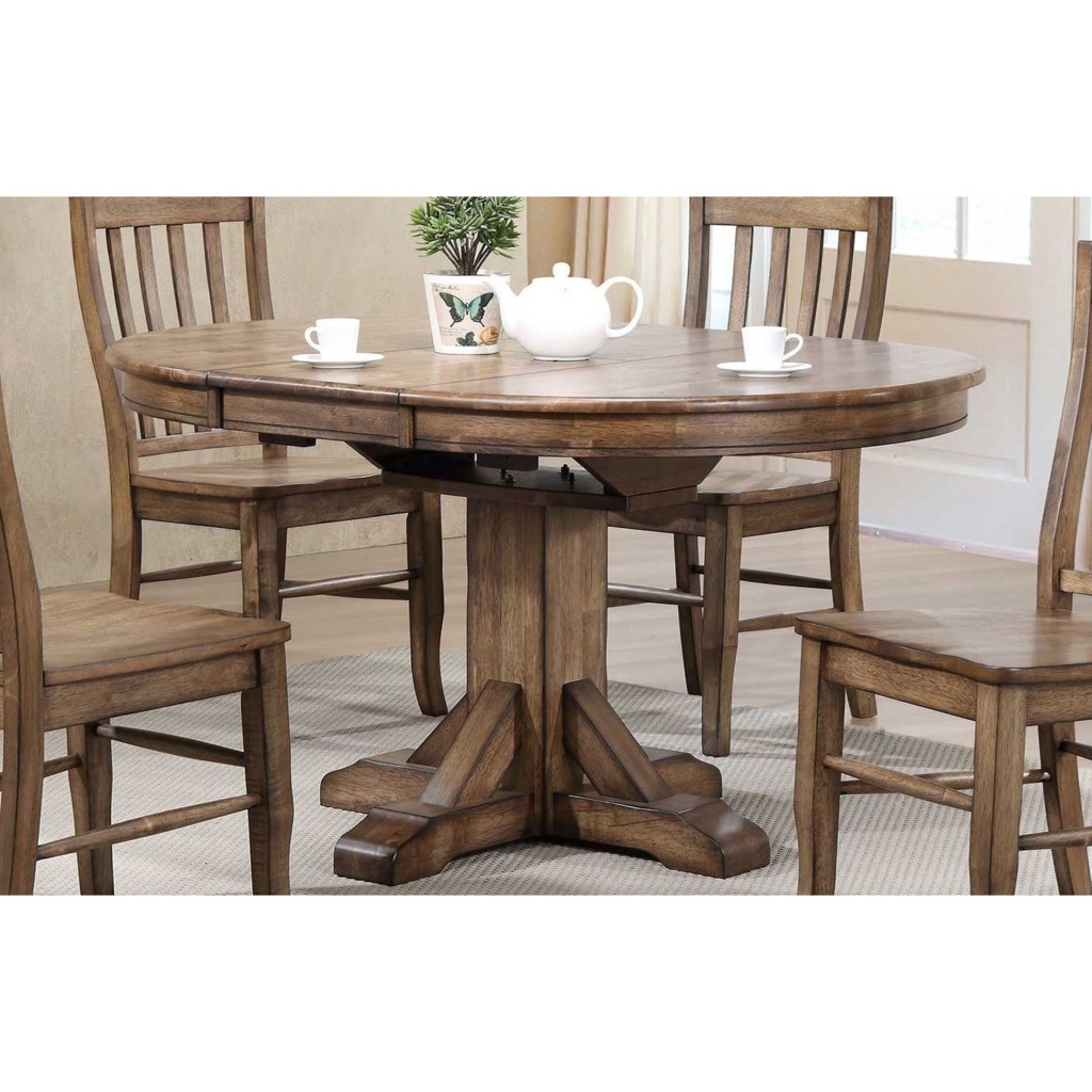 Carmel 57 pedestal table w 15 butterfly leaf and rustic brown finish