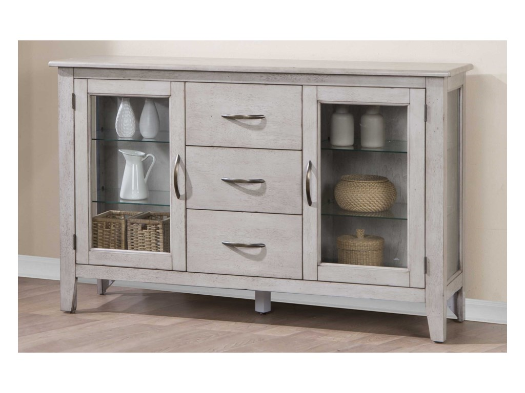 Carmel 54 Sideboard With Glass Doors And Felt Lined Drawers By Winners Only At Dunk Bright Furniture