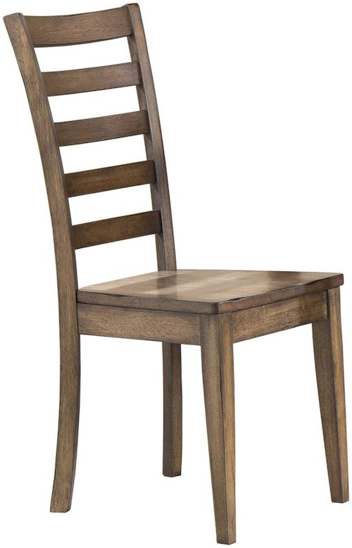 Winners Only Carmel Ladderback Side Chair with Rustic Brown Finish