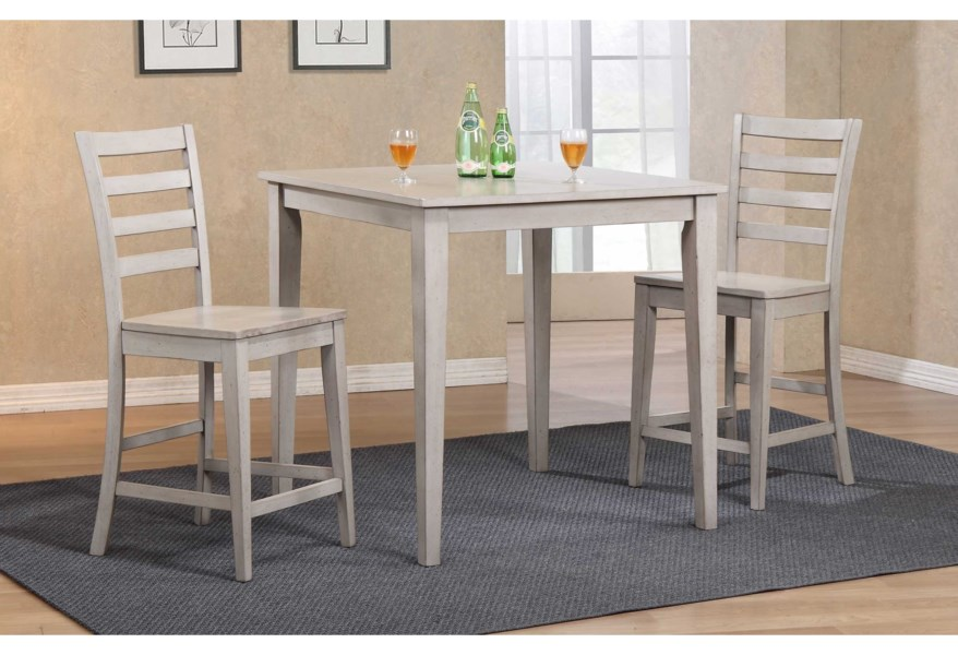 Winners Only Carmel 3 Piece Counter Height Dining Set Lindy S Furniture Company Pub Table And Stool Sets