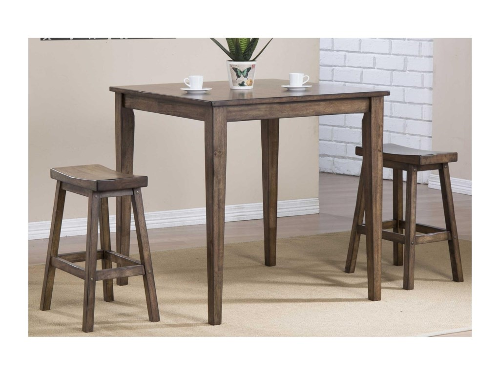 Winners Only Carmel 3 Piece Counter Height Dining Set