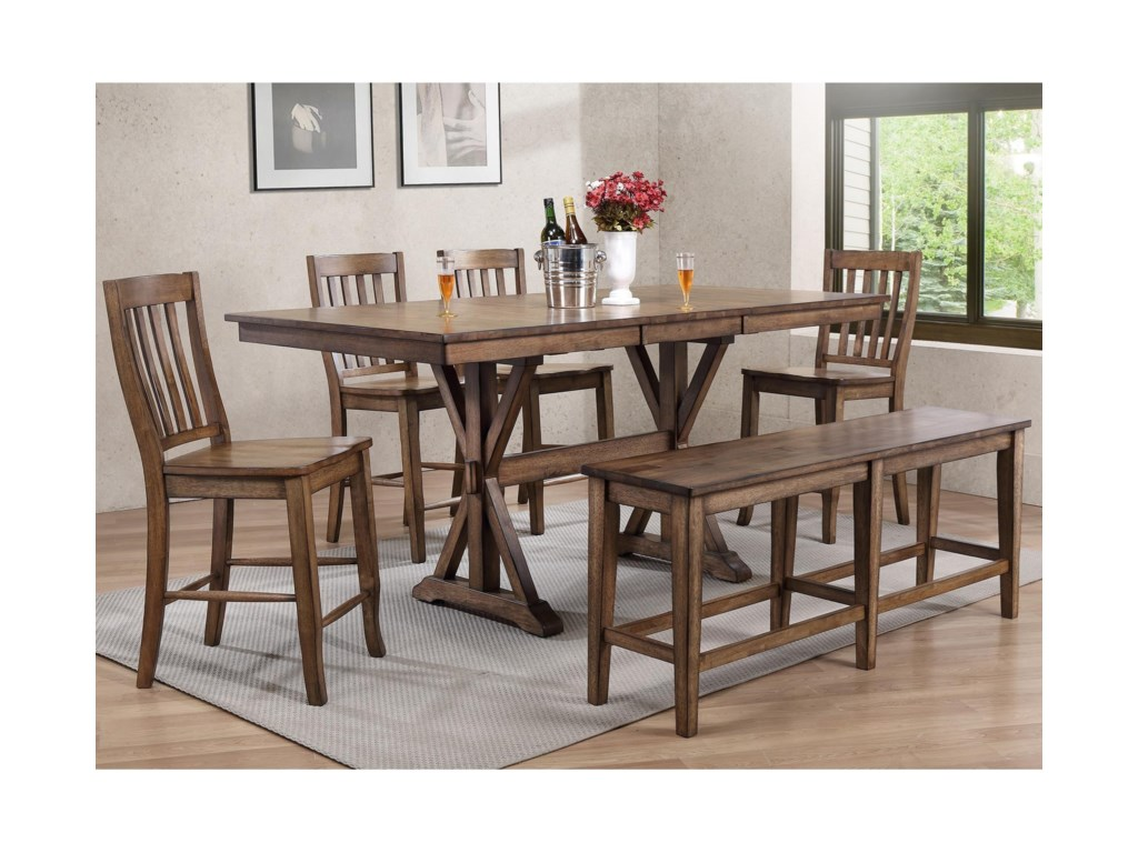 Winners Only Carmel 6 Piece Dining Set With Bench Dunk Bright
