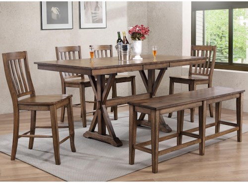 Winners Only Carmel 6 Piece Dining Set With Bench