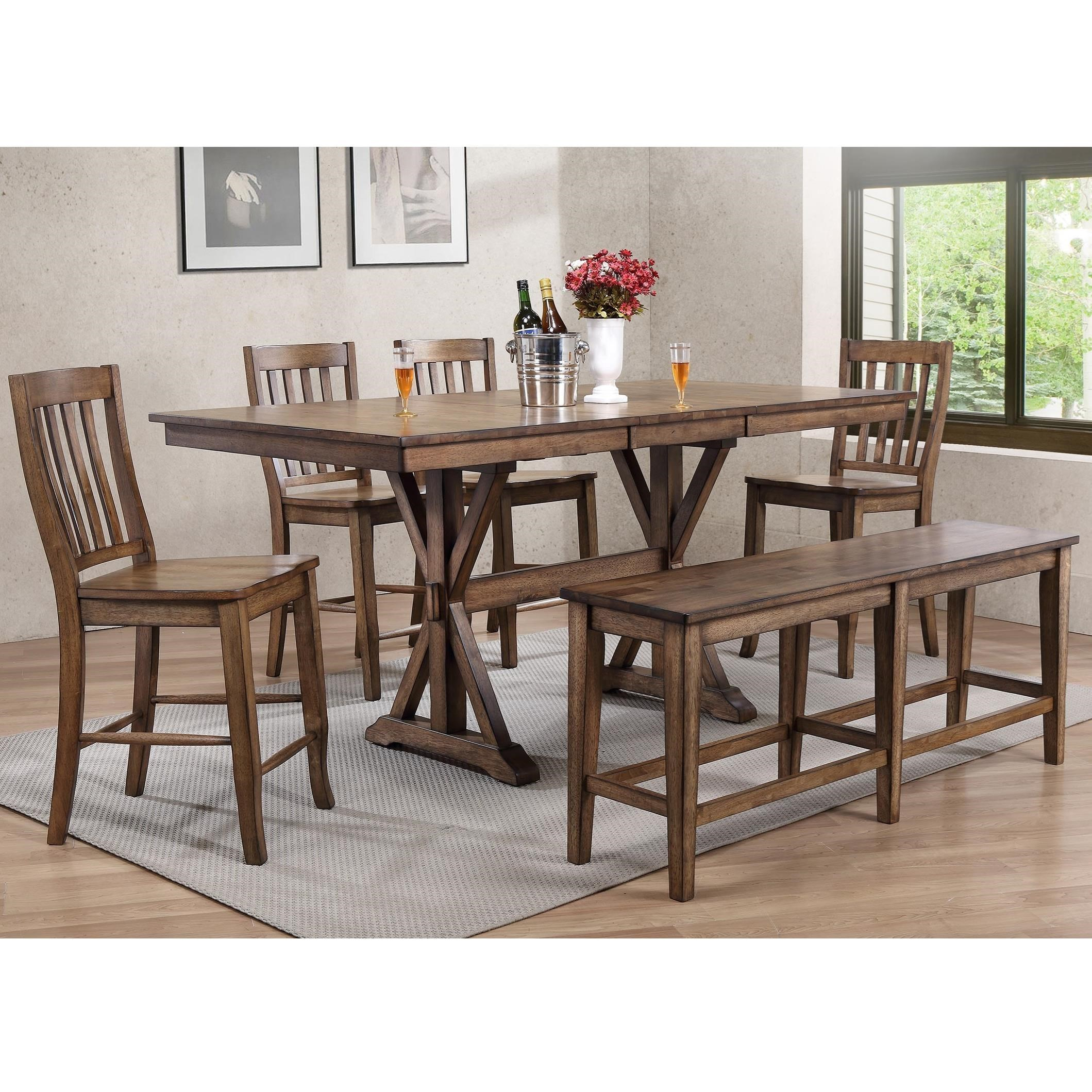 Amazing Carmel 6 Piece Dining Set With Bench By Winners Only