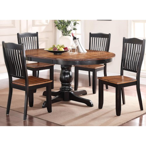Winners Only Camden 5 Piece Dining Set with Slat Back Chairs