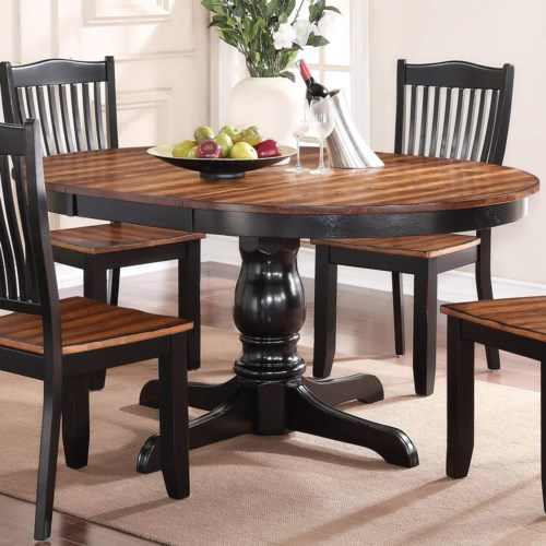 Winners Only Carson 66 Round Single Pedestal Table With Leaf