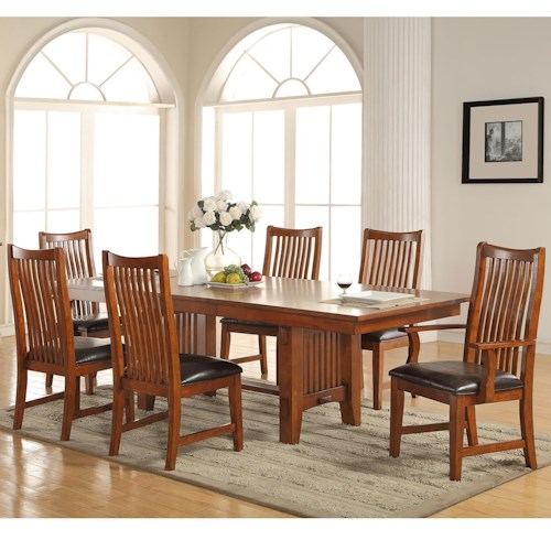 Winners Only Colorado 7 Piece Dining Set with Trestle Table