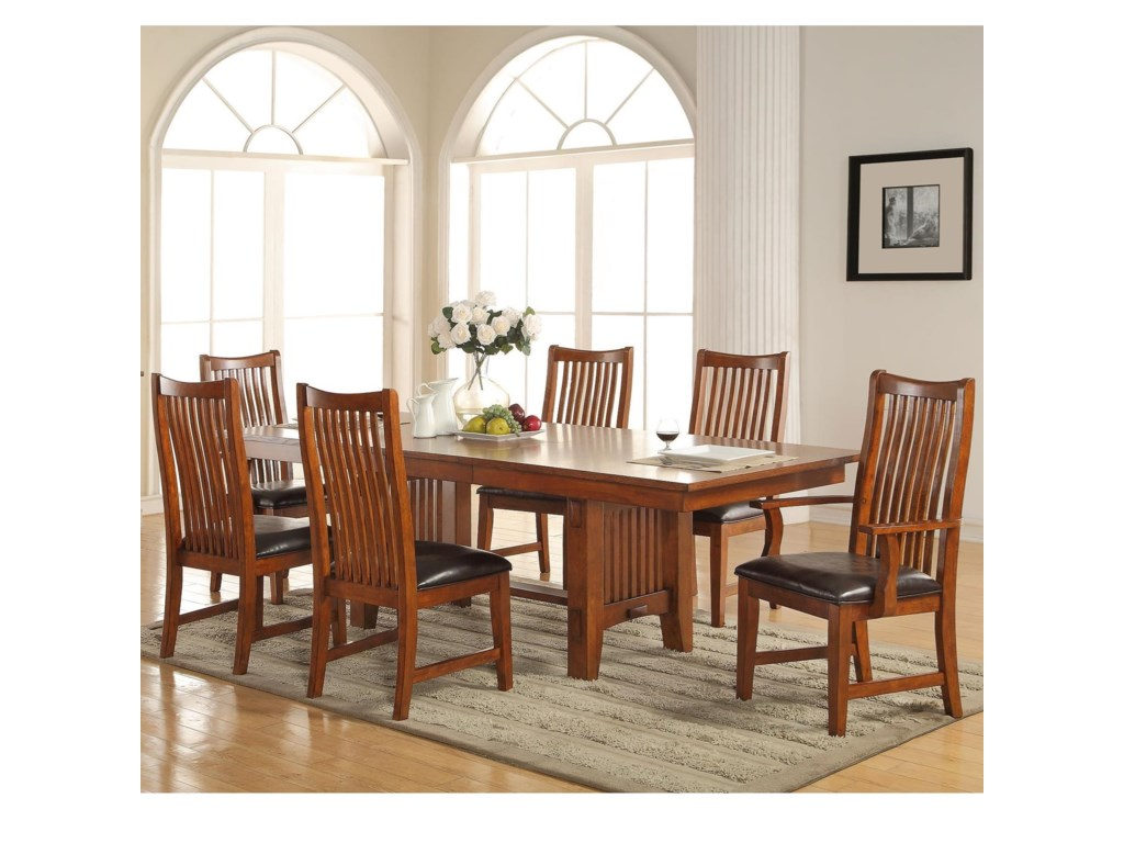 Colorado 7 Piece Dining Set With Trestle Table By Winners Only At Lindy S Furniture Company