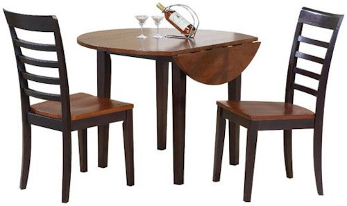 Winners Only Contemporary Farmhouse 3 Piece Drop Leaf Table and Chair Set