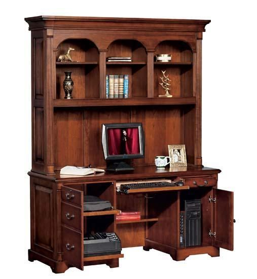 Country Cherry Computer Credenza With Hutch