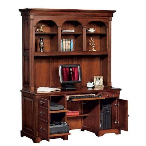 Winners Only Country Cherry Computer Credenza with Hutch