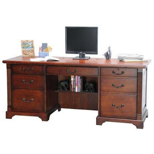 Winners Only Country Cherry Computer Credenza with Pullout Keyboard and Predestal Drawers