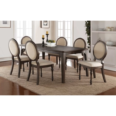 Dining Set with Upholstered Oval Back Chairs